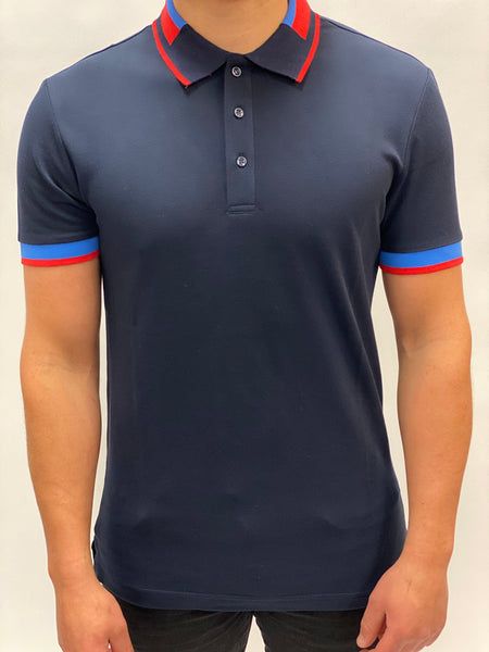 Navy Polo Ribbed Trim Antony Morato