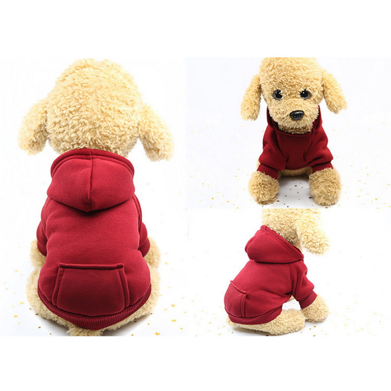 XS-2XL Pet Dog Hoodie Coat Soft Fleece Warm Puppy