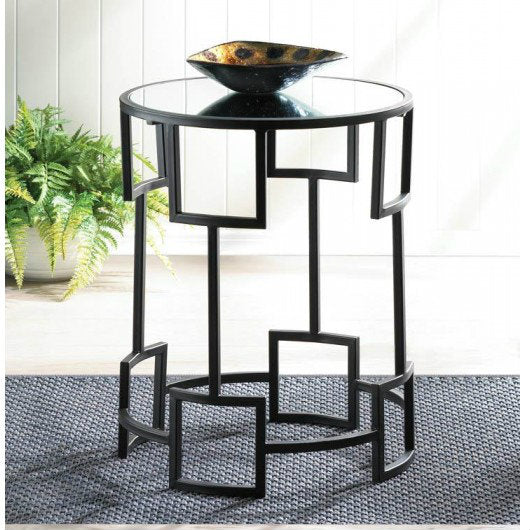Modern Geometric Mirror-Top Round Side Table
