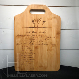 Bamboo Cutting Board w/Handle - Hillbilly Laser