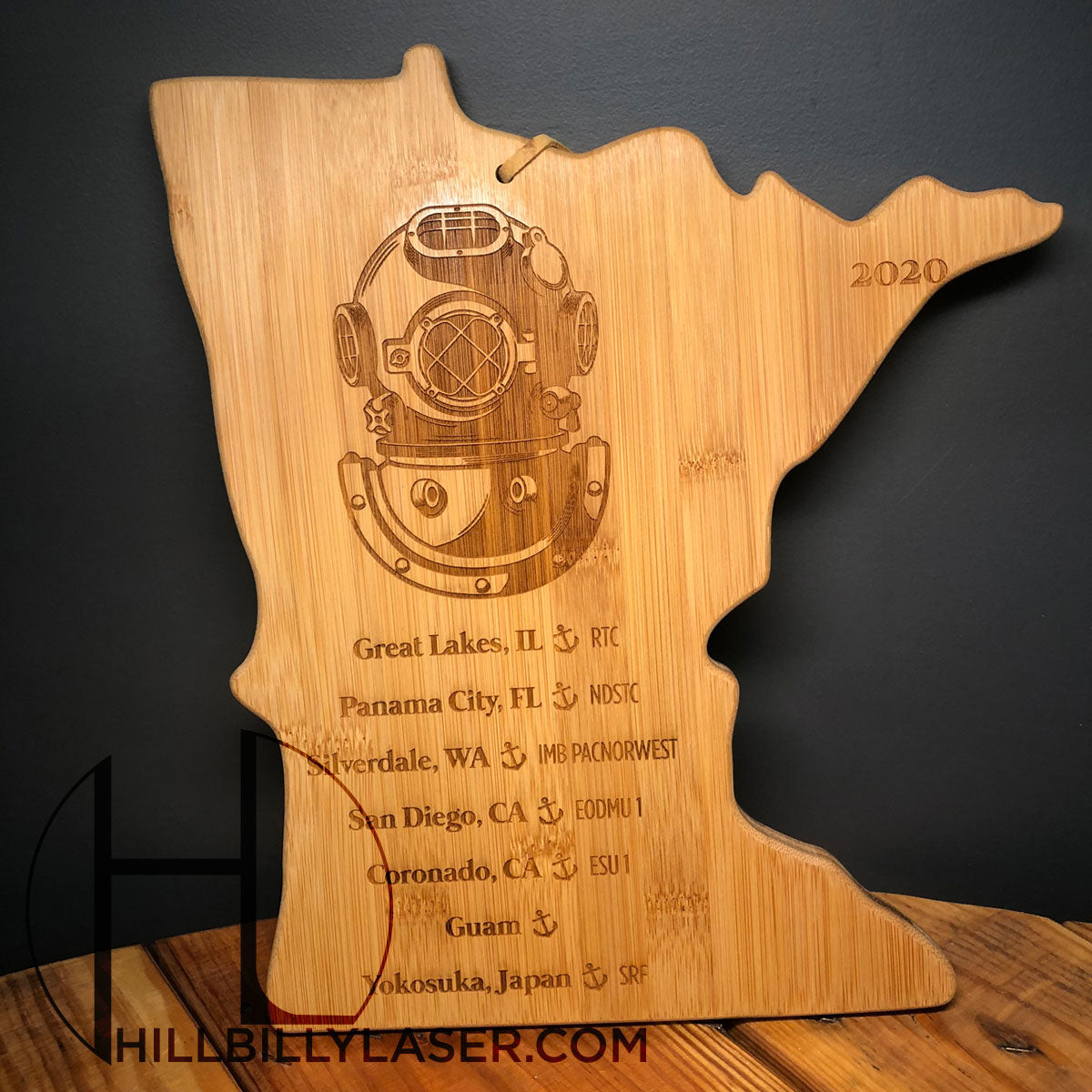 Bamboo Cutting Board - State Series - Hillbilly Laser