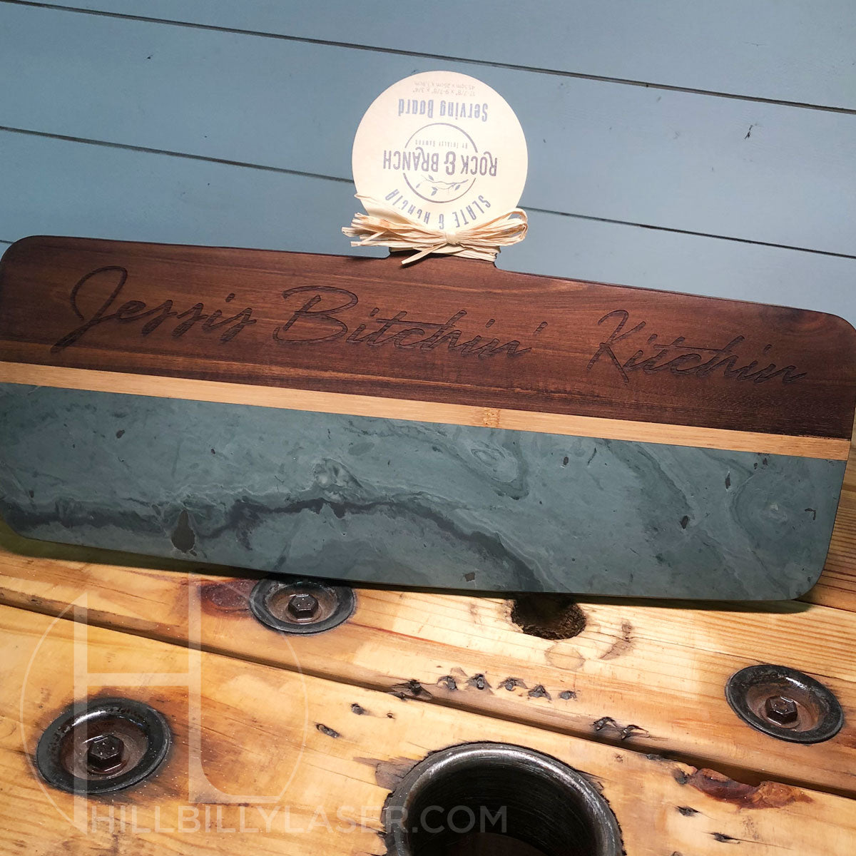 Slate & Acacia Serving Paddle - Hillbilly Laser