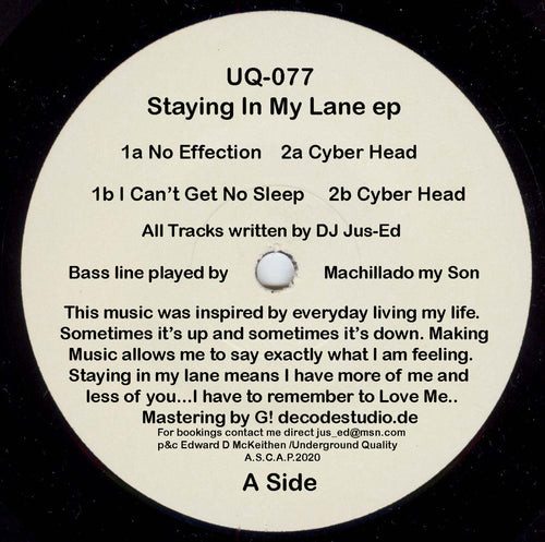 UQ-077 STAYING IN MY LANE EP shipping now!
