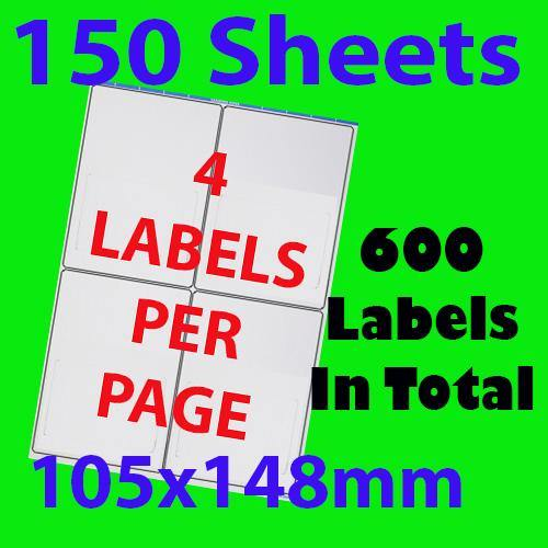 150 Sheets 10.5x14.8cm 4 Labels Per Page Quality A4 Shipping Label Laser Inkjet