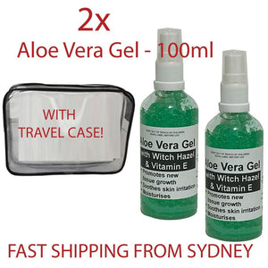2x 100ml Aloe Vera Gel + Witch Hazel & Vitamin E Refreshing Moisturises the Skin