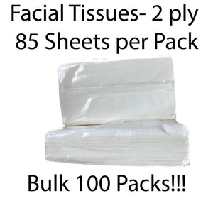 Facial Tissues - Cellophane Wrapped - 2 ply 85 Sheets per Pack - 100 Packs Per Carton **BULK**