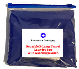 Reusable X-Large Travel Laundry Bag with washing powder.