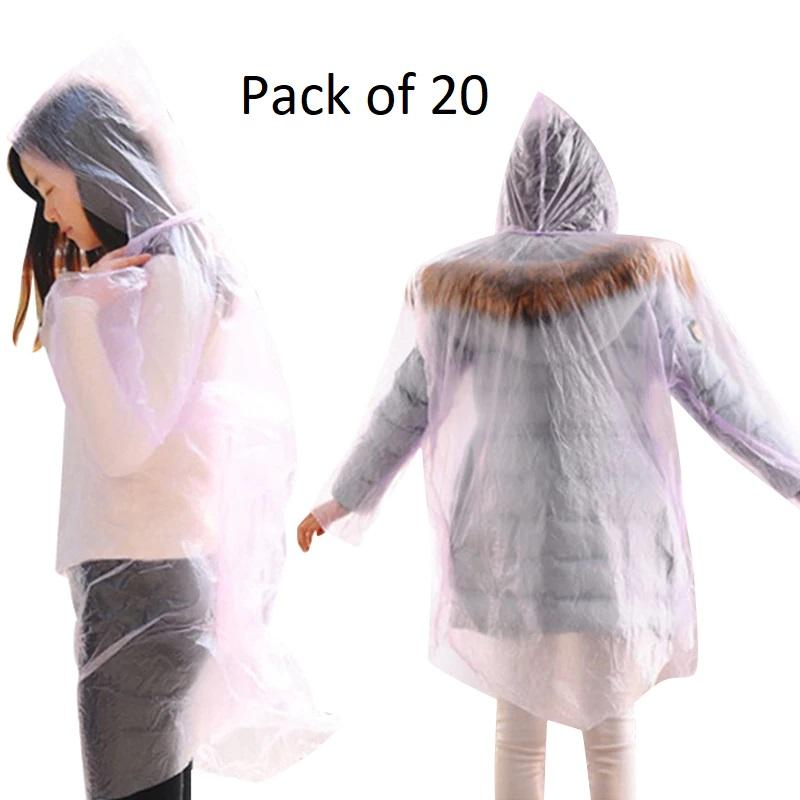 Disposable Adults Emergency Waterproof Poncho - 20 Pack