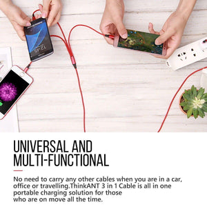 3 in 1 Multi USB Charger Charging Cable Cord For iPhone, TYPE C Android & Micro USB