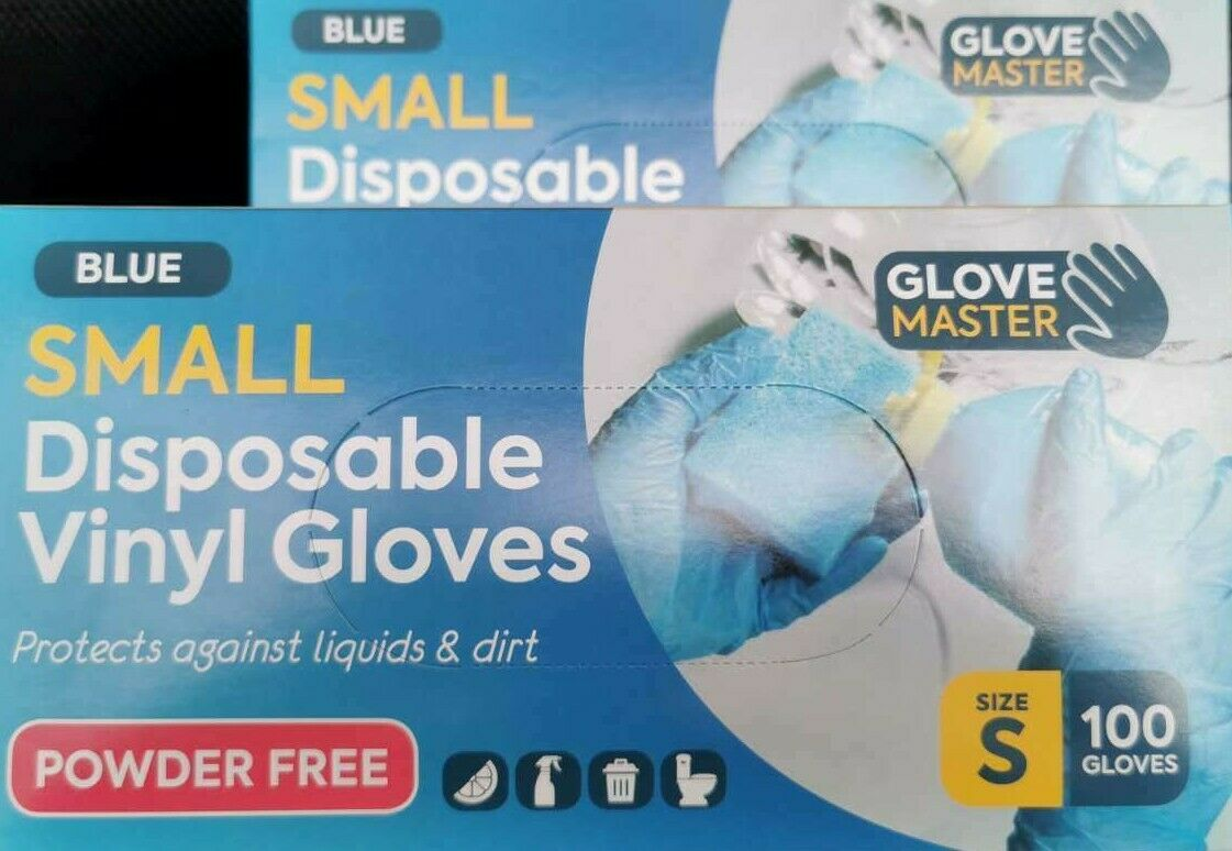 Glove Disposable 100pcs Blue High Quality Vinyl Latex Free All Purpose - SMALL