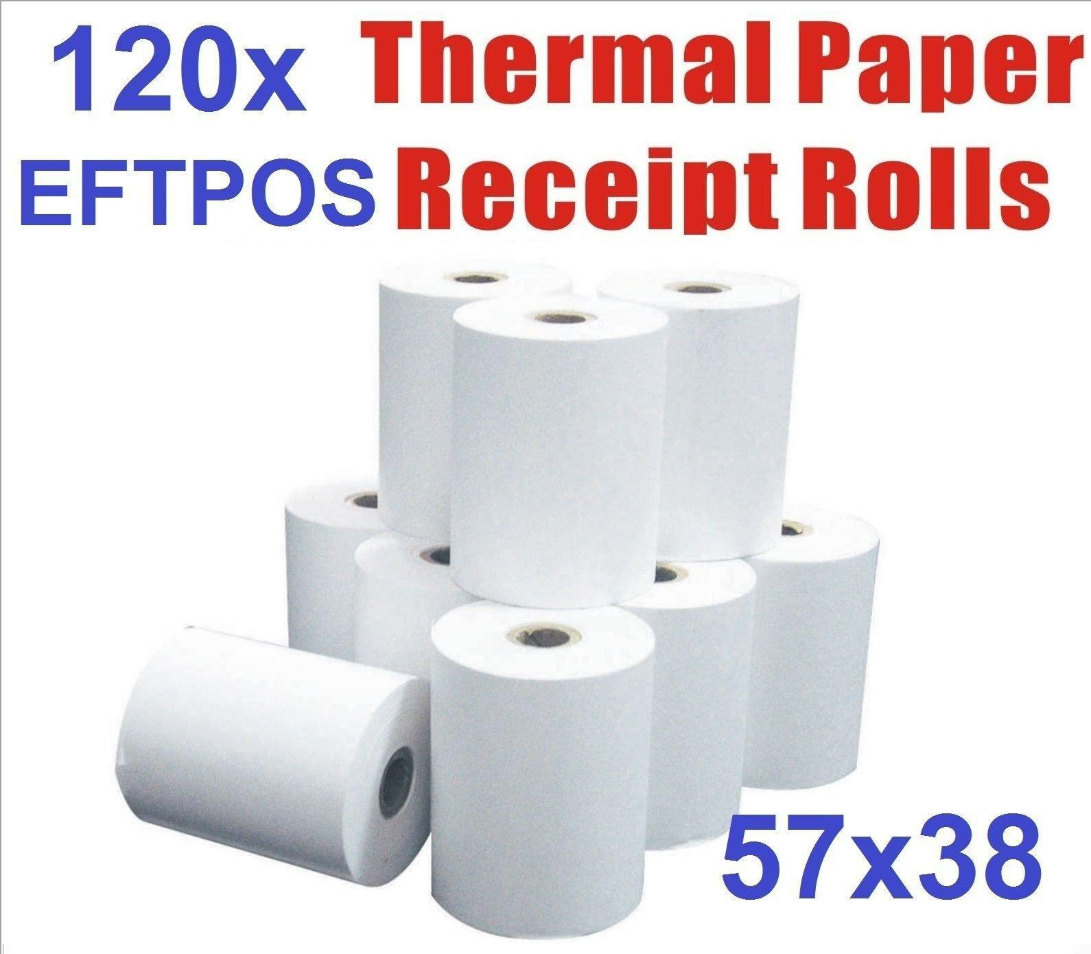 120 Bulk Rolls 57x38mm Premium EFTPOS Thermal Paper Cash Register Receipt Rolls