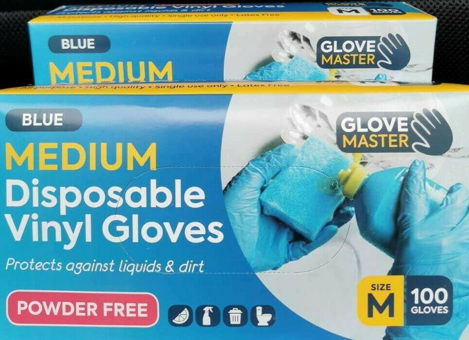 Glove Disposable 100pcs Blue High Quality Vinyl Latex Free All Purpose - MEDIUM