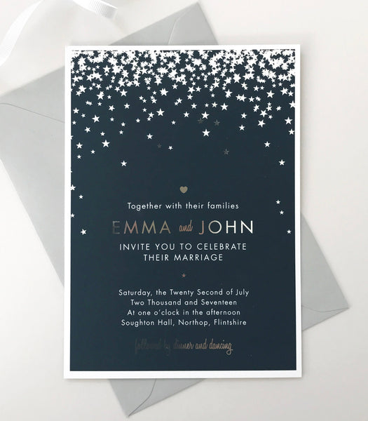 silver foil wedding invitations by Project Pretty