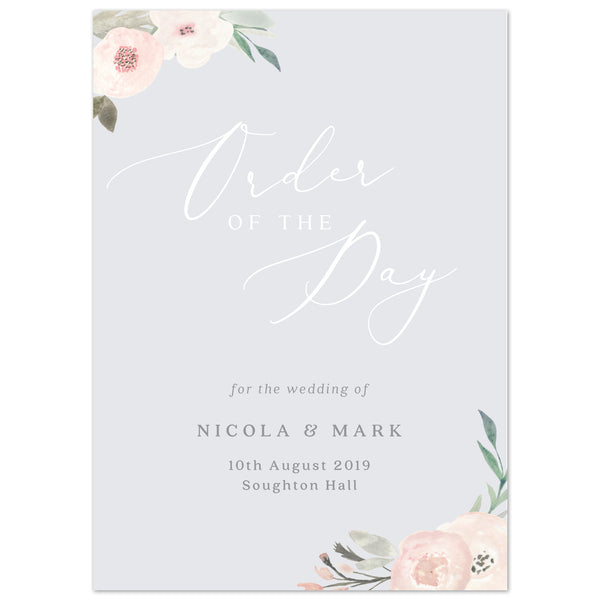 Ella Wedding Order Of The Day Program Cards