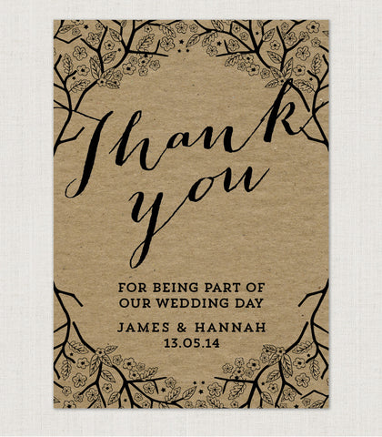 Enchanted Forest Kraft Thank You Card - Project Pretty