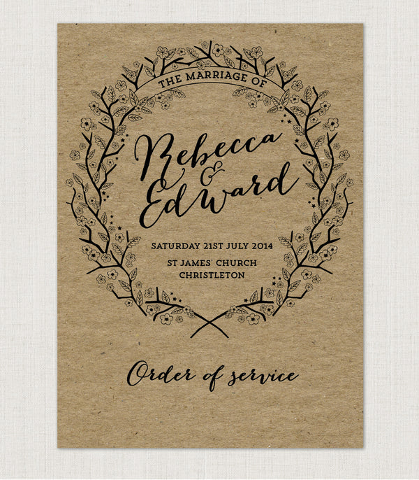 Enchanted Forest Kraft Order of Service booklets - Project Pretty