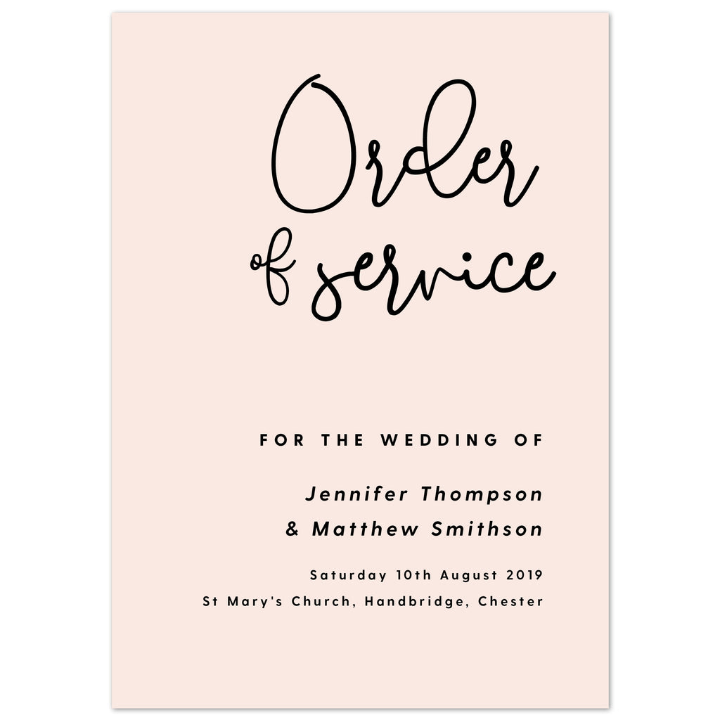 Lexi Order of Service booklets