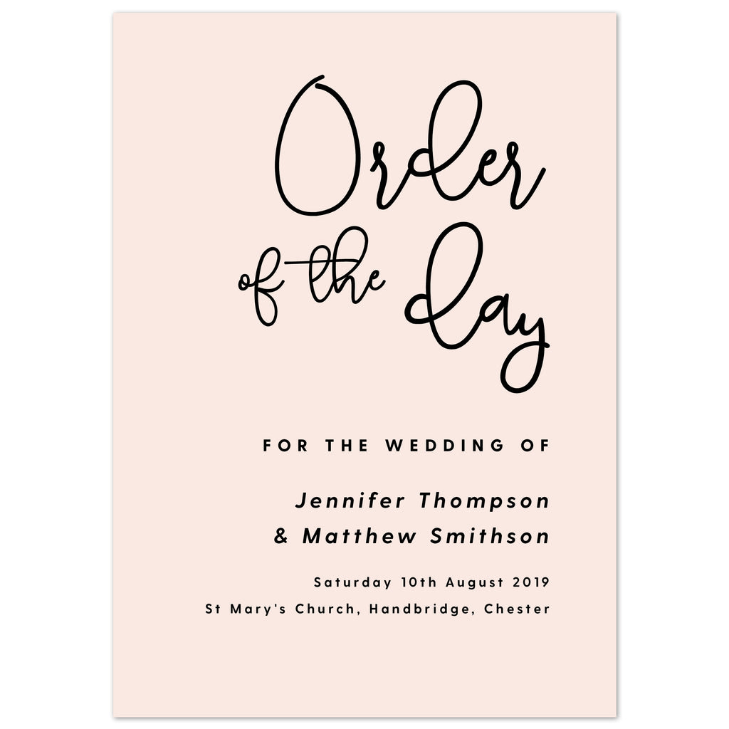 Lexi Wedding Order Of The Day Program Cards