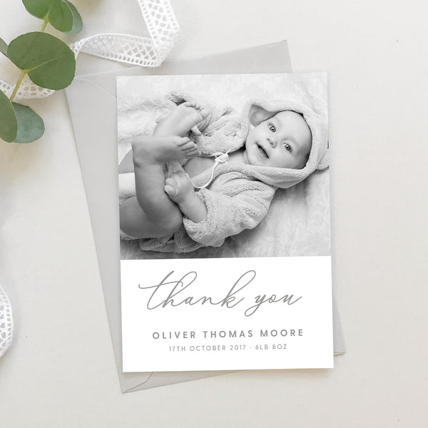 Grey script New Baby photo thank you cards