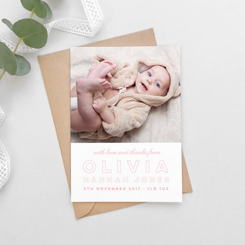 Modern text New Baby photo thank you cards