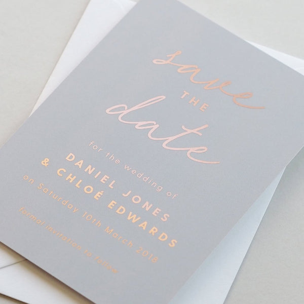 Rachel foil save the date card