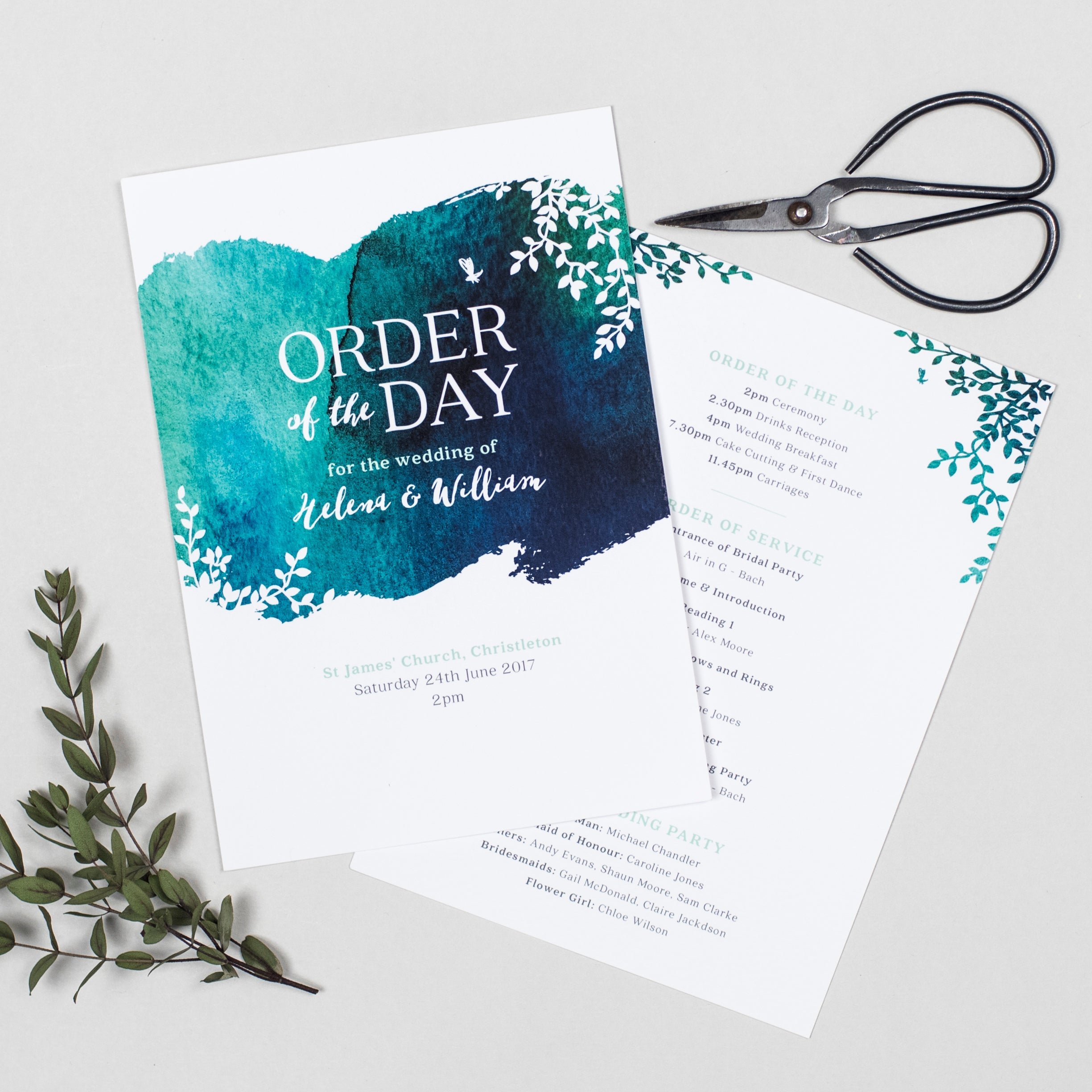 Helena Wedding Order Of The Day Program Cards