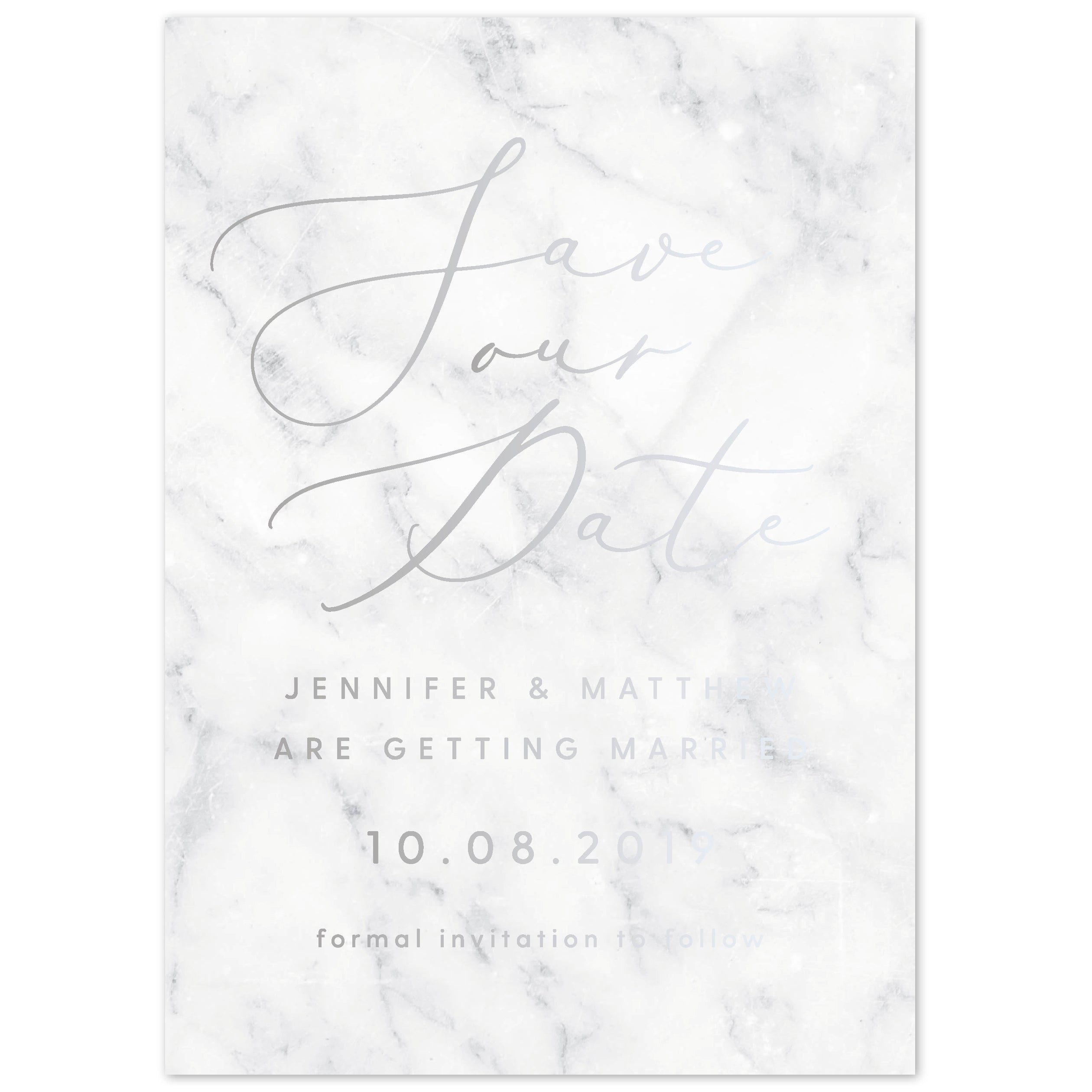 Marble foil save the date card