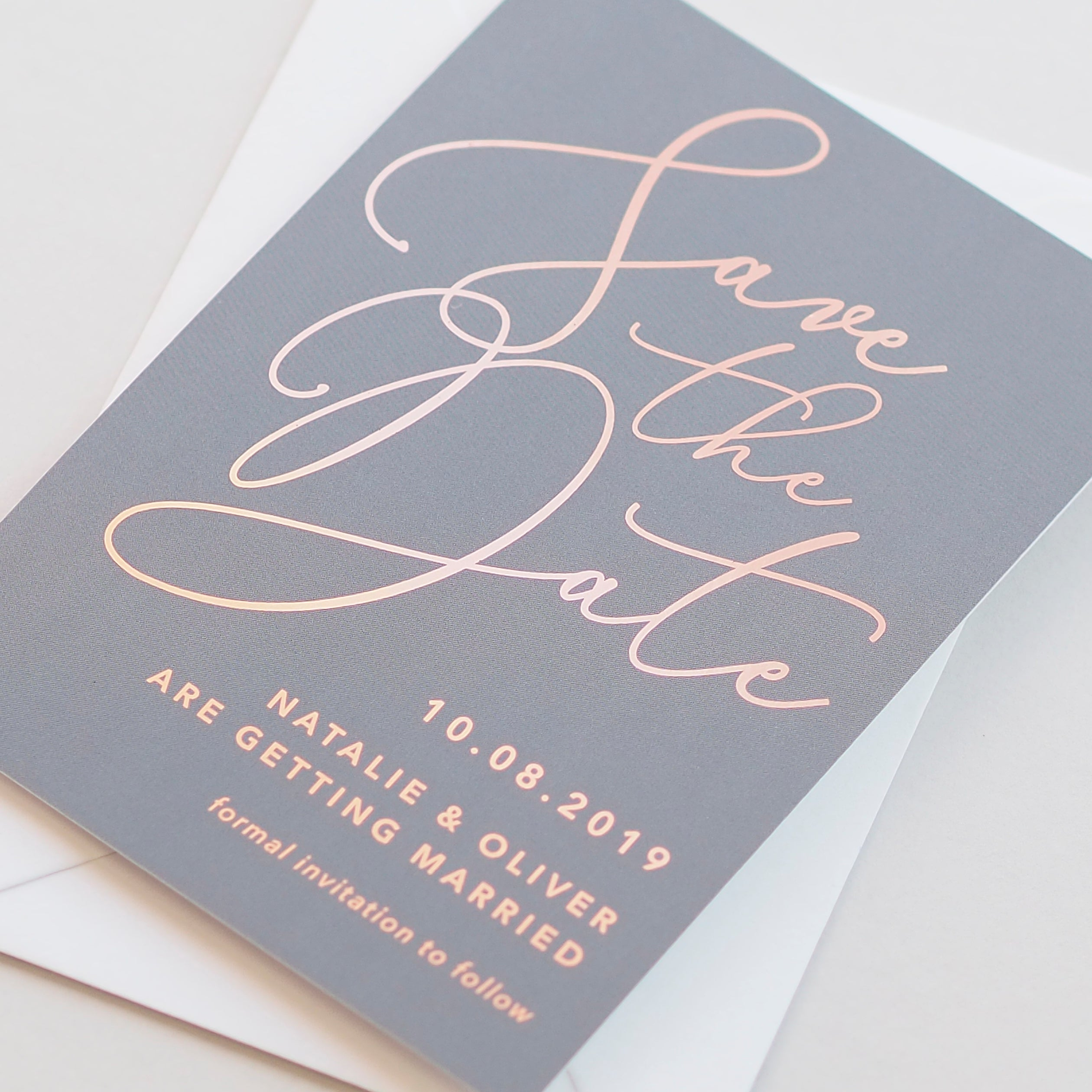 Natalie grey foil save the date card