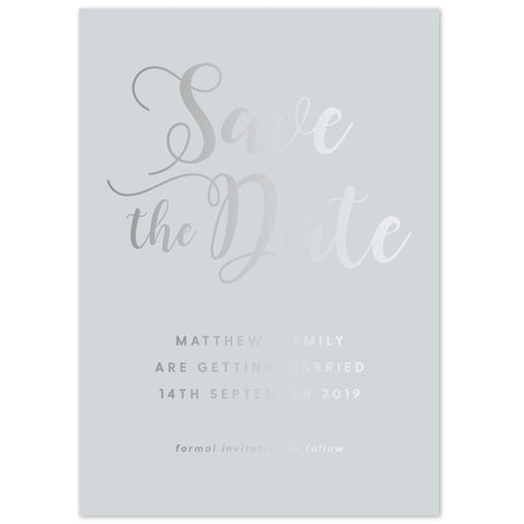 Simple script foil save the date card
