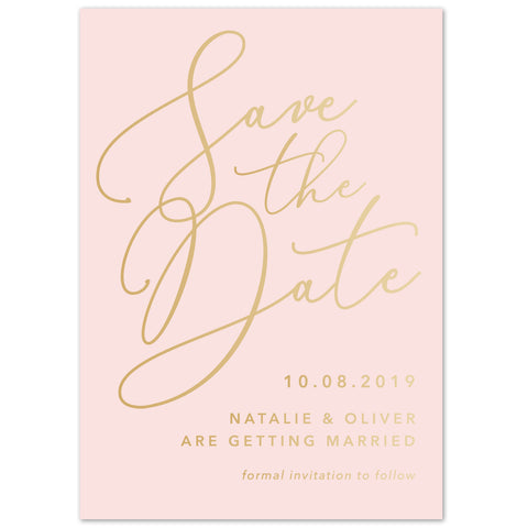 Natalie blush foil save the date card