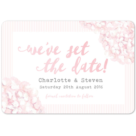 Hydrangea Pink Save The Date