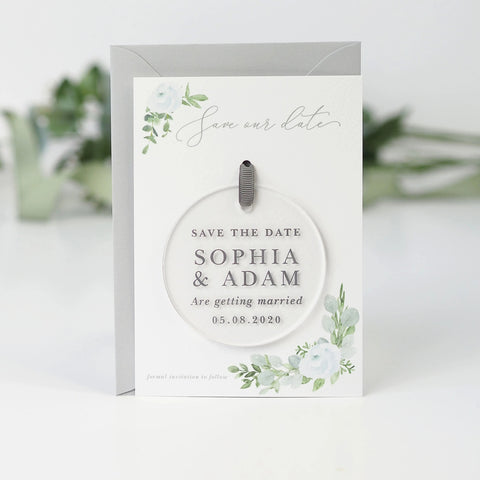 Eucalyptus hanging acrylic save the date