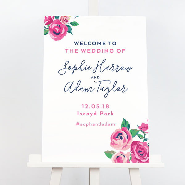 Adela floral wedding welcome sign