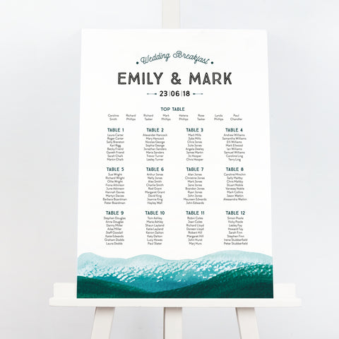 Adventure mountains wedding table plan