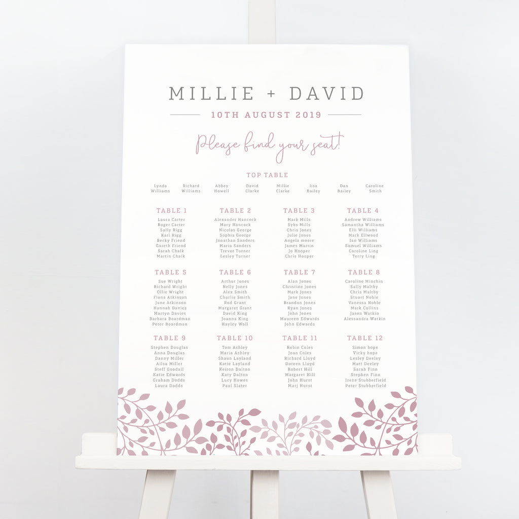 Alice botanical wedding table plan