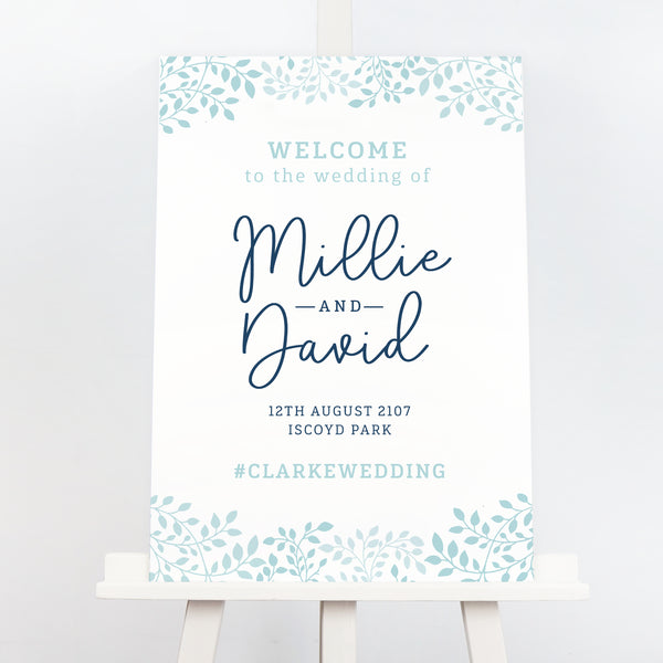 Alice botanical wedding welcome sign