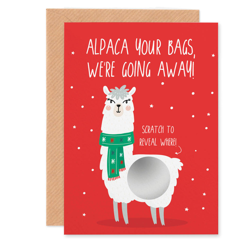 Alpaca Scratch Off Surprise Gift Christmas Card