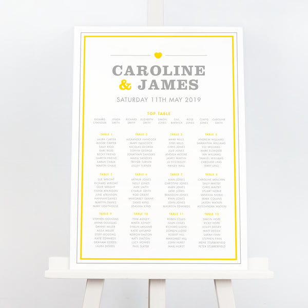 Yellow and grey amelia wedding table plan