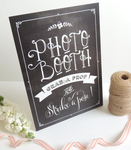 Chalkboard Style Wedding Photo Booth Sign