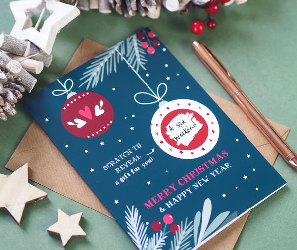 Bauble Scratch Off Surprise Gift Christmas Card