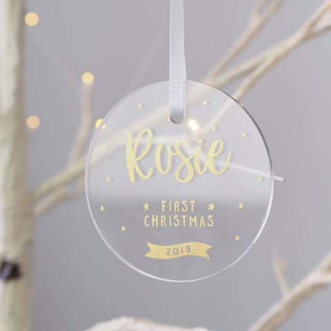 Personalised Acrylic baby's First Christmas Decoration