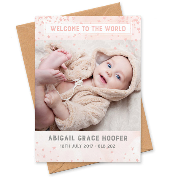 Star design newborn announcement photo thank you cards