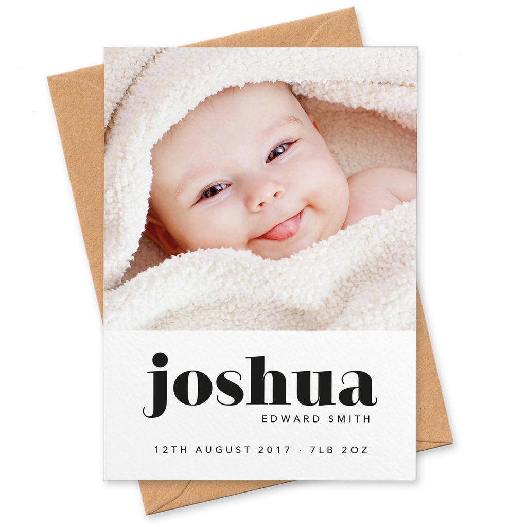 Bold type birth announcement cards
