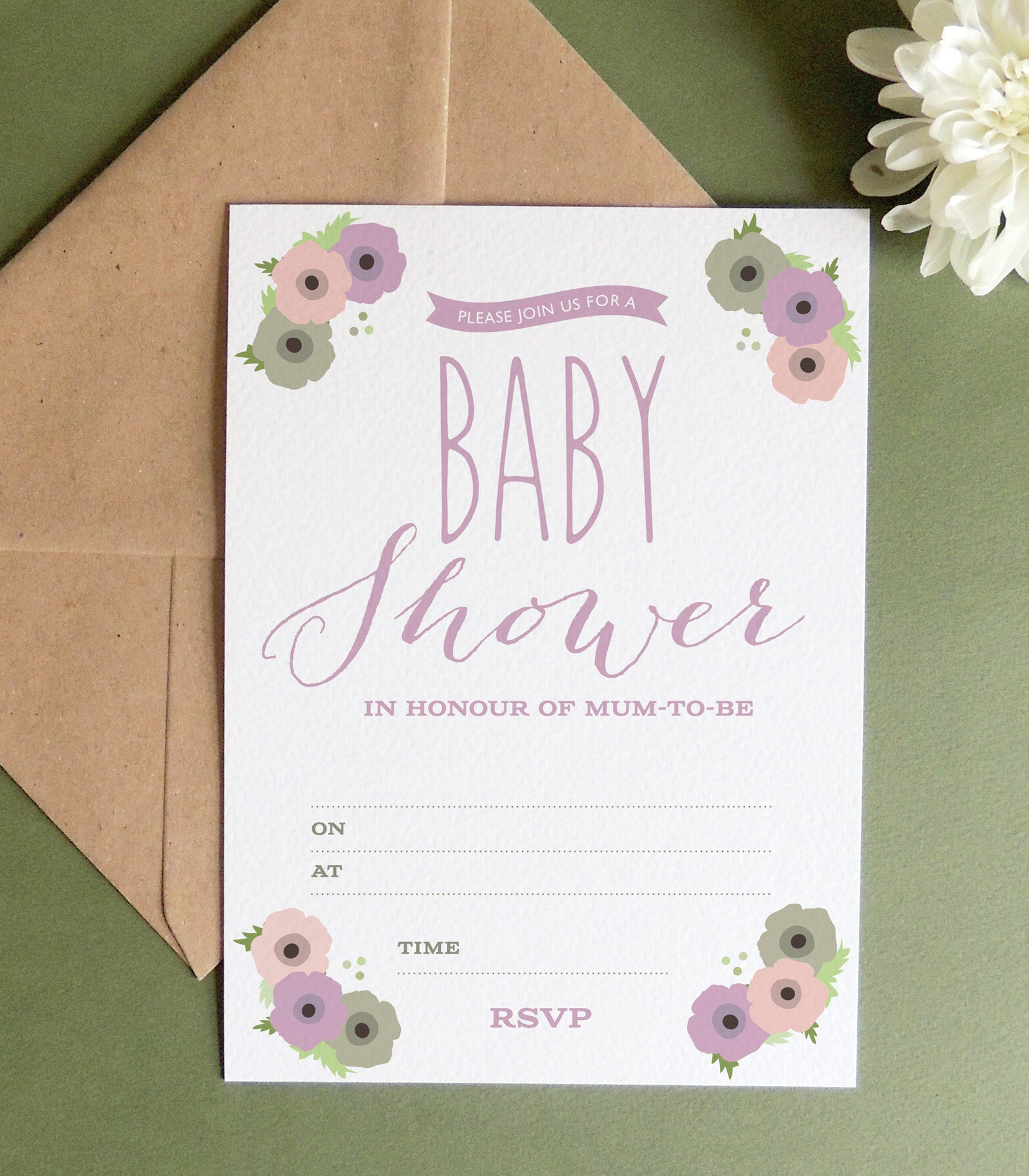 12 X Poppy Baby Shower Invitations - Project Pretty  - 2