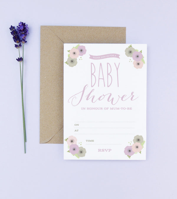 12 X Poppy Baby Shower Invitations - Project Pretty  - 1