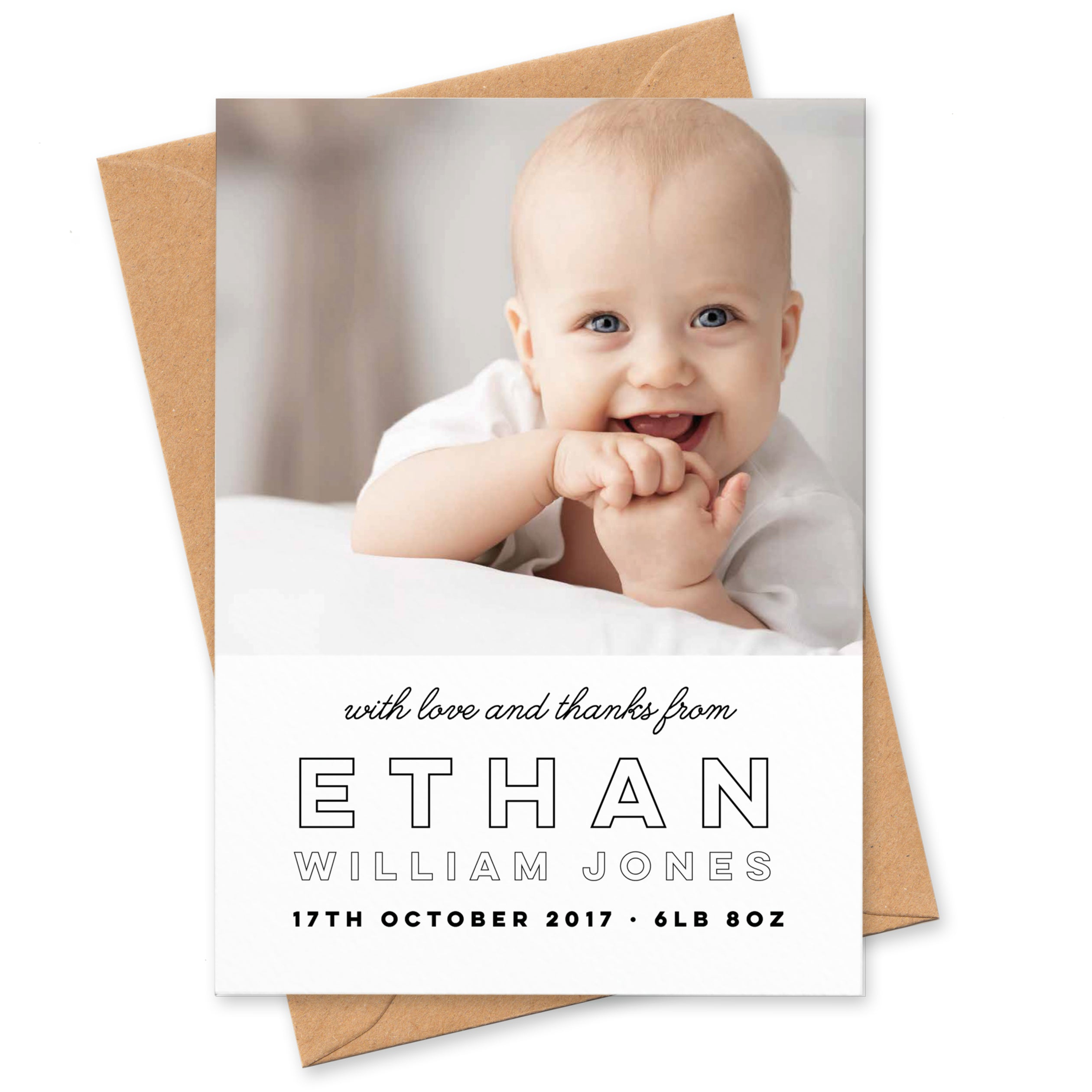 Modern Text New Baby Photo Thank You Cards Project Pretty
