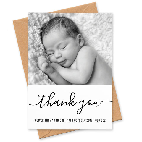 Monochrome New Baby photo thank you cards
