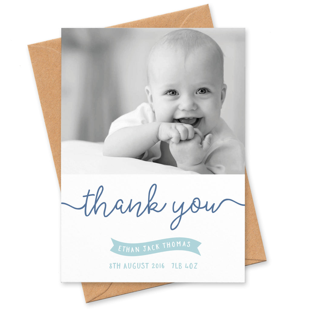 Ribbon New Baby photo thank you cards