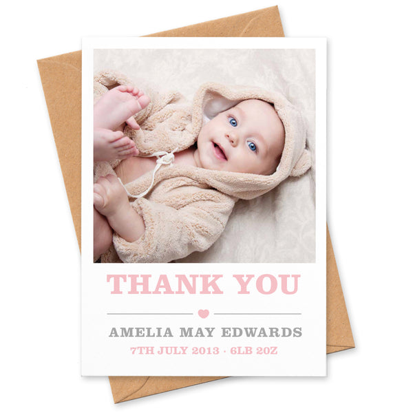 Amelia New Baby photo thank you cards