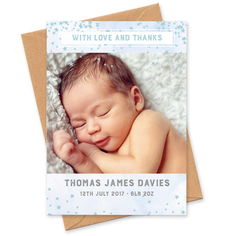Star design New Baby photo thank you cards